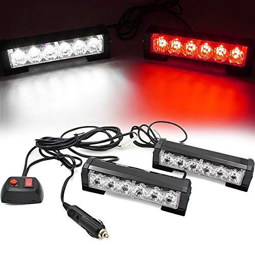 FOXCID 2 X 6 LED 9 Modes Traffic Advisor Emergency Warning Vehicle Strobe Lights for Interior Roof / Dash / Windshield / Grille / Deck Universal Waterproof (White / Red)