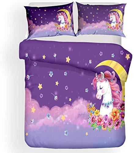 779 Juego de ropa de cama con diseño de unicornio, juego de ropa de cama para niñas