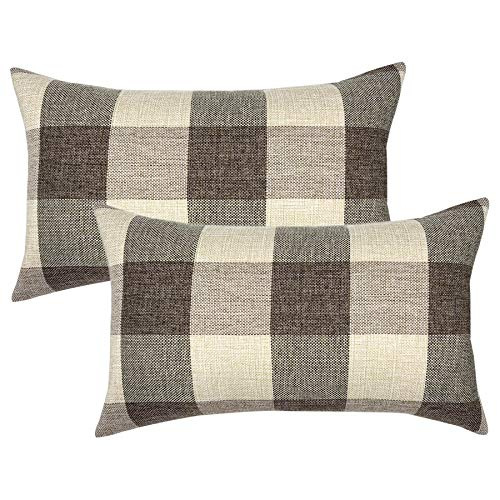 YOUR SMILE Retro Farmhouse Buffalo Tartan Checkers Plaid Cotton Linen Decorative Throw Pillow Case Cushion Cover Pillowcase Lumber for Sofa 12 x 20 Inch,Set of 2,Brown/Khaki