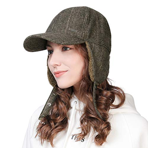 Winter Trapper Hat for Men Wool Baseball Cap with Earflap Elmer Fudd Hat Fur Hunting Snow Cold Weather Guys Large Coffee