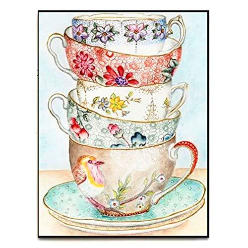 5D diy pintura diamante taladro completo kit adultos Tazas de té Imagen Ronda completa Crystal Rhinestone punto de cruz cuadros Pegada Salon Dormitorio manualidades para casa Decorativa A13425 30x40cm