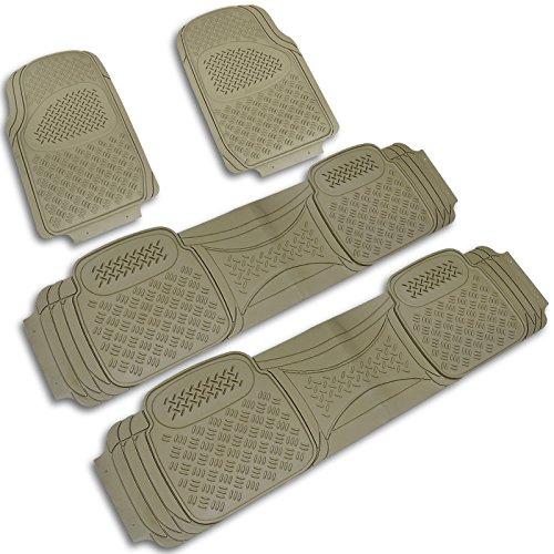 Spec-D Tuning 4PC Beige Heavy Duty All Weather 3D Rubber Floor Mats Front+Rear