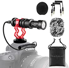 Universal Camera Microphone Video Mic Shotgun Starfavor SXR-10 with Shock Mount, Windscreen, Soft Case, Cable for iPhone Cellphone Canon EOS Nikon DSLR Cameras and DV Camcorders