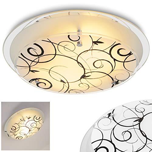 Ronde plafondlamp, bloemdecor, wit-mat/zwart, plafondlamp met glazen kap, 2 x E27 fitting, max. 60 Watt, voor woonkamer, slaapkamer, keuken, gang
