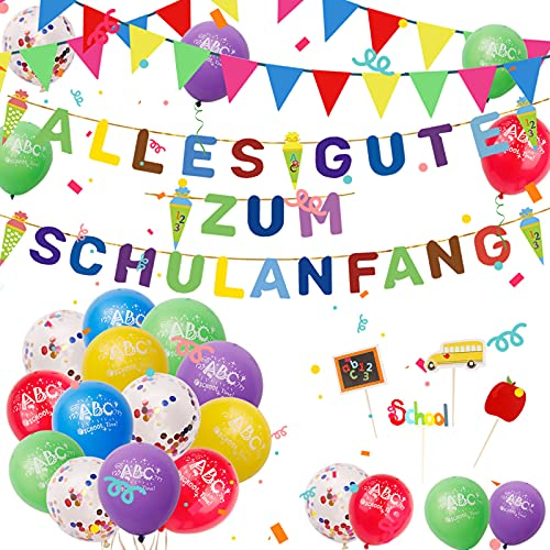 DANXIAN Einschulung Schulanfang Deko, Alles Gute zum Schulanfang Girlande Schultüte Banner Girlande, 40m Wimpelkette, 15 Luftballon, Konfetti Ballon, Kleine Flagge für Junge Mädchen