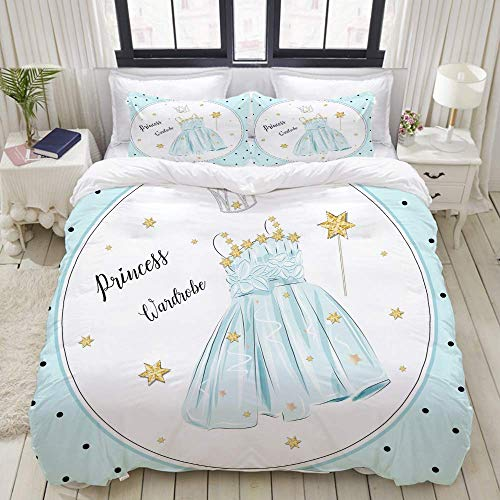 Bettbezug-Set, süßes Mädchen Prinzessin Kleid Kleiderschrank blau, bunt dekorative 3-teilige Bettwäsche-Set mit 2 Kissen Shams