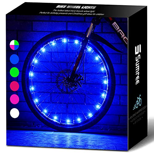 Sumree Bike Lights with Batteries Included, LED Bike Wheel Lights Provide All-Round Lighting More Fashionable and Safer.Best Gifts for Boys and Girls Even for Men and Women (Blue)