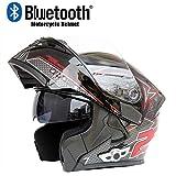 Qinsir Bluetooth Intégré Modulaire Casque,Moto ECE La Certification De Sécurité Dot Full Face Racing Casque De Moto Globale Intégré Microphone Haut-Parleur Intégré avec FM,B,M=(57~58CM)