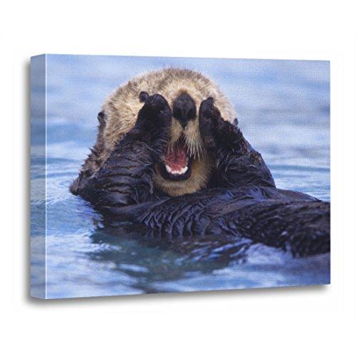 TORASS Canvas Wall Art Print Aquatic Cute Sea Otter Alaska Animal Artwork for Home Decor 12' x 16'