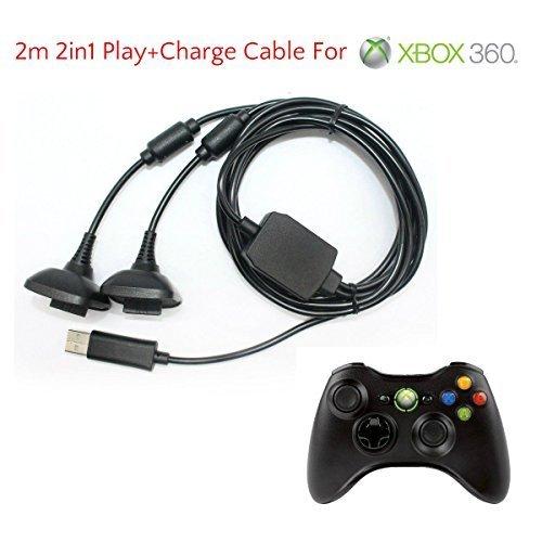 2 en 1 2m Largo USB Jugar Y CARGA CABLE DE CARGA CABLE PARA XBOX 360 Mando Pad...