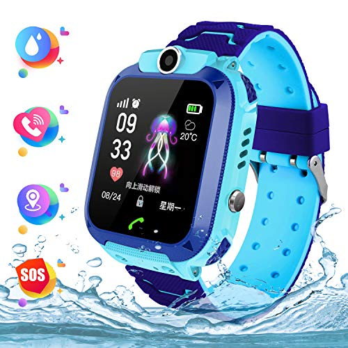 Wasserdichte Student Kinder Smartwatch Telefon - Touchscreen Kinder Smartwatch, Anruf Voice Chat LBS SOS Taschenlampe Digitalkamera Wecker, Geschenk für Kinder Junge Mädchen Student, S12 Blau