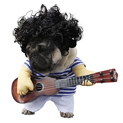 S-Lifeeling Pet Guitar Costume Dog Costumes Guitarist Player Ourfits for Halloween Christmas Cosplay...