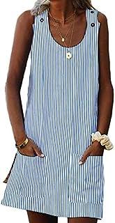 Asvivid Womens Summer Button Crew Neck Sleeveless Casual Mini Dress with Pocket