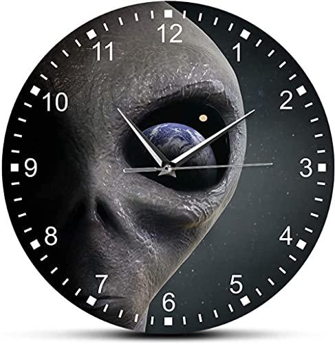 Gran decoración reloj de pared místico espacio exterior planeta alienígrafo impreso reloj extraterrestre extraterrestre alienígena moderno colgando reloj platillo hombre diseño fácil de leer para la d