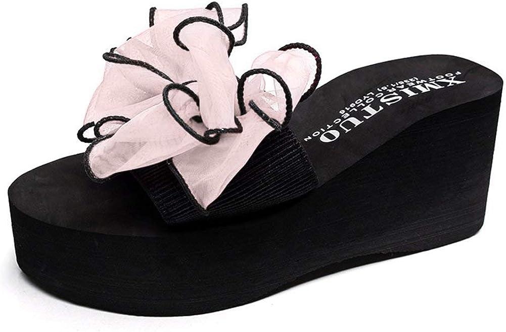 GIY Women Lace Bowknot Bohemian Platform Slide Sandals Anti-Slip Outdoor Summer Beach Wedge Sandals
