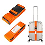 Heavy Duty <span class='highlight'>Luggage</span> <span class='highlight'>Straps</span> for <span class='highlight'>Suitcase</span>s Packing <span class='highlight'>Belts</span> <span class='highlight'>Travel</span> Accessories Adjustable Bag Strap with Buckle Closure and Name Tag Slot 2 Pack