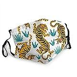 tailored Set Tigers Tropicales Hojas Moda Adulto Negro Frontera Máscara Portátil Protección Cara Bandana, Borde Elástica Pasamontañas