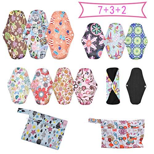 Wenosda Toallas Sanitarias Reutilizables 12pcs Almohadilla Menstrual Almohadillas de Tela para posparto Servilleta Sanitaria (7 piezas × M + 3 piezas × L + 2 bolsas impermeables)