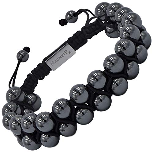 MagnetRX® Hematite Magnetic Therapy Bracelet - MAX Strength Natural Pain Relief and Healing Stones - Beaded Magnetic Hematite Bracelets (Double Strength 8mm)