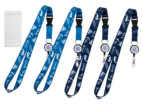 ECOHIP 4 Pack Cruise Retractable Lanyard with ID Holder Name Badge Holder Reel Clip Key Phone Blue