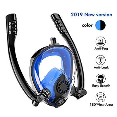NENRENT Snorkel Mask - Double Snorkel Full Face Snorkeling Mask 180°Panoramic View Scuba Diving Mask with Camera Mount for Adults Easy Breathe, Anti-Fog Anti-Leak Gear for Free Diving Swimming