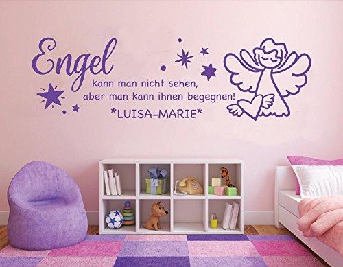tjapalo® La-pkm154 Wandtattoo Mädchenzimmer name Wandtatoo Baby Mädchen Name Spruch Engel kann man begegnen Wunschname und Datum (B140 x Höhe 38 cm TOP)