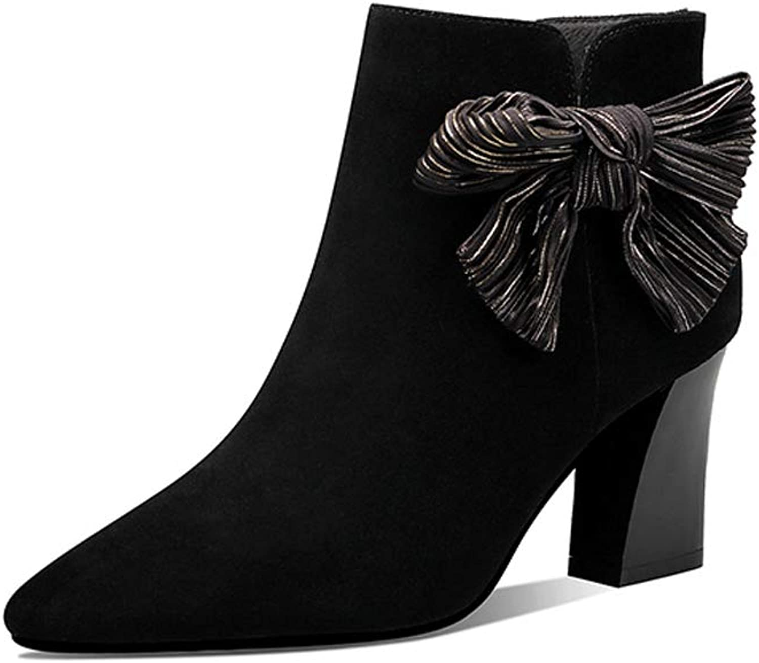 Small Boots 2018 New Purple Matte Boots Women's High-Heeled British Wind Martin Boots Bow Thick with A Single Boots