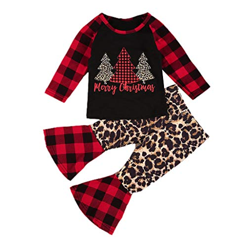 Christmas Santa Costume Newborn Baby Girls 2Pcs Christmas Ourfits Toddler Baby Cute Girl Patchwork Leopard Print Long Sleeve T Shirt Cotton Tops Red Plaid Flare Pant Xmas Clothes Set