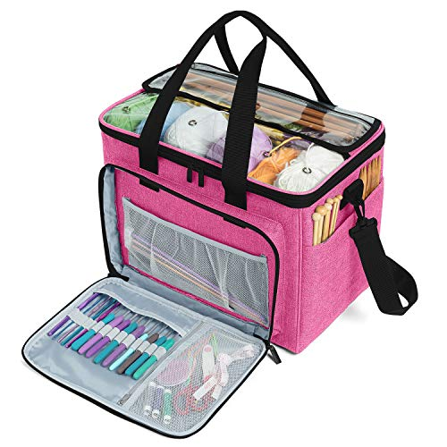 """Teamoy Knitting Bag, Yarn Tote Organizer with Inner Divider (Sewn to Bottom) for Crochet Hooks, Knitting Needles(Up to 14""""), Project and Supplies -No Accessories Included, Pink"""