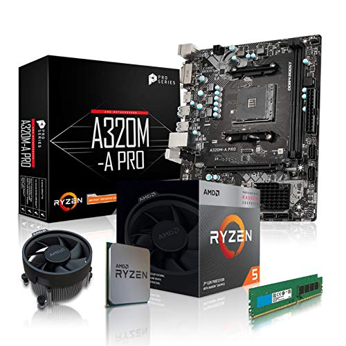 dcl24.de PC Aufrüstkit [11753] AMD 5-3400G 4x3.7 GHz - 16GB DDR4, AMD Vega 11-2GB, A320 Mainboard Bundle Kit