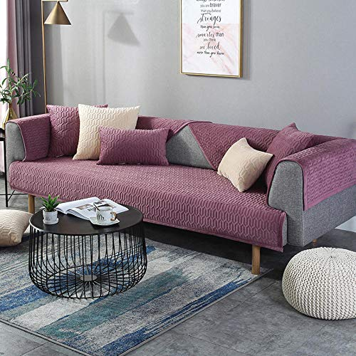 B/H Elastic Armchair Cover,Thicken Sofa Cover in Winter, Flannel Cushion Towel-Red Wine_90*120CM,Stretch Slipcovers Jacquard Sofa
