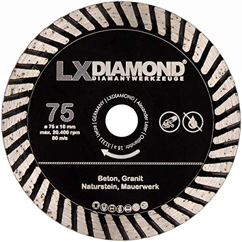 LXDIAMOND Disco de corte de diamante de 75 mm x 10 mm, para hormigón, granito, piedra natural, mampostería, compatible con Bosch GWS 12 V, amoladora angular profesional con batería, 76 mm