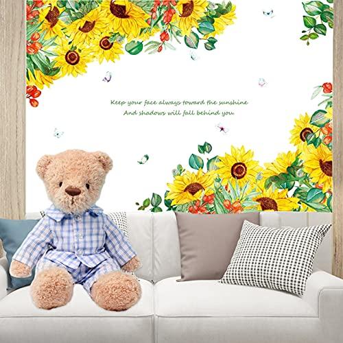 Pegatinas de Pared Girasol Flores de Jardín Adhesivos Pared(amarillo:4 hojas de 30×45cm)alcomanías de Pared de Plantas Verdes para Dormitorio Sala de Estar Comedor Pared de Fondo de Tv