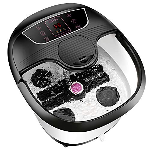 Motorized Foot Bath Spa Massager, Feet Bath Spa with Heat and Massage, 8 Massage Balls and Rollers, Bubble Surging for Feet Relief and Cleaning, Timer Pedicure Stone Function