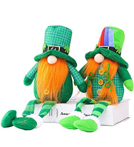 KTYX 2pcs Patricks Gnomes Plush Couple Set - Doll Scandinavian Leprechaun Festival Decoration Gifts - Linda Decoración del Hogar para Niños, Niñas, Regalos, Mujeres