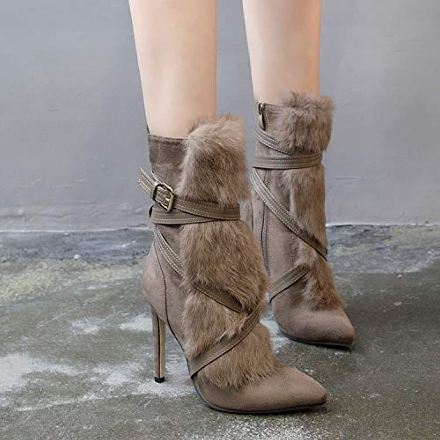 FAQIAN Cross Decorative Fur Barrel Boots, Really Rabbit 40