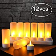 Expower Rechargeable Flameless Candle, 12 Pcs Warm White LED Flickering Tea Lights and 12 Frosted Cups, Comes With Charging Base, No Battery Needed