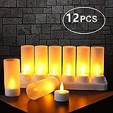 Expower Velas LED sin Llama12 Velas Recargables Luces Decorativas...