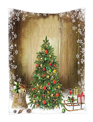 Ambesonne Christmas Tapestry, Pine Tree with Present Boxes on Snowy Board Xmas at Countryside Theme, Wall Hanging for Bedroom Living Room Dorm Decor, 40' X 60', Brown Green