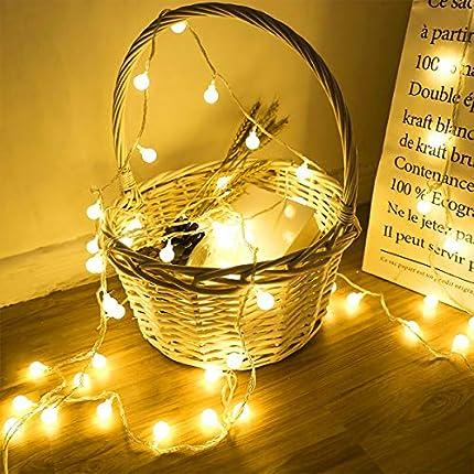 40 LED 16ft Cadena Luces, luz blanca cálida, Alimentado por batería, Resistente al agua, Fulighture Decorativas Guirnaldas Luminosas para Exterior,Interior,Jardines,Boda,Fiesta de Navidad