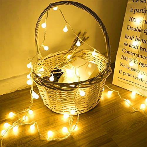 Globe String Lights, 2 Modes 16ft 40LEDs Ball Fairy Lights, Battery Operated, Warm White Decorative Light, for Bedroom, Wedding, Party, Christmas, Festival, Tree Decoration, Outdoor Lighting