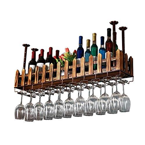 Estante para vino Estante para vino de madera maciza con estante y soporte para copas Vaso de vino creativo para colgar al revés Estante para copas de vino de pared, 80X20X21Cm, 80X20X21Cm Beautiful