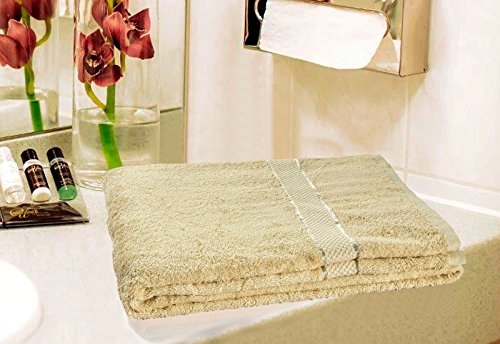 SAIF Toallas de baño de Mano 100% algodón Egipcio, Hotel, Beige, Toalla de baño