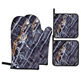 Juego de 4 Guantes y Porta ollas para Horno Resistentes al Calor Textura Mármol Fondo Piedra Azul Negro para Hornear en la Cocina,microondas,Barbacoa