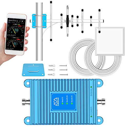 Band 2/5/13/25/26 Cell Phone Signal Booster for Home Subroad Cellular Signal Amplifier Repeater Compatible AT&T, T-Mobile, Verizon, Sprint and More Boost GSM, CDMA, 4G LTE Voice and Data