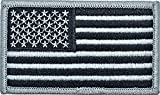 Tactical New Age American Flag Embroidered Patch USA United States of America Military Iron On Sew On Emblem USA White and Black (no Velcro)