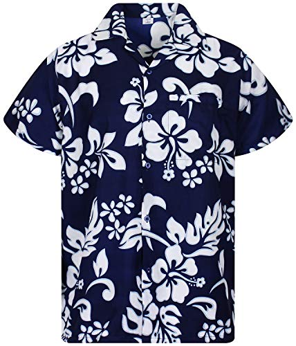 V.H.O. Funky Camisa Hawaiana, Hibiscus, Navyblue, M