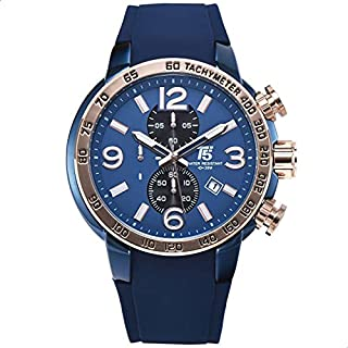 T5 H3450G-H Rubber Round Analog Watch for Men - Blue