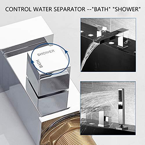 Artbath 3-Hole Roman Tub Faucet Waterfall Bathtub Faucet Tub Filler with Handheld Shower Waterfall Spout Tub Deck Mount(Chrome)