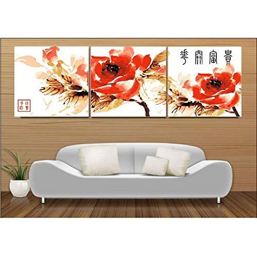 Pintura en lienzo HD 3 piezas de pintura al óleo digital sobre lienzo de pintura por números flores rojas imágenes de pared DIY para colorear por números -50CM*50CM*3